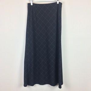 Eddie Bauer Stretch Navy & White Long Plaid Skirt